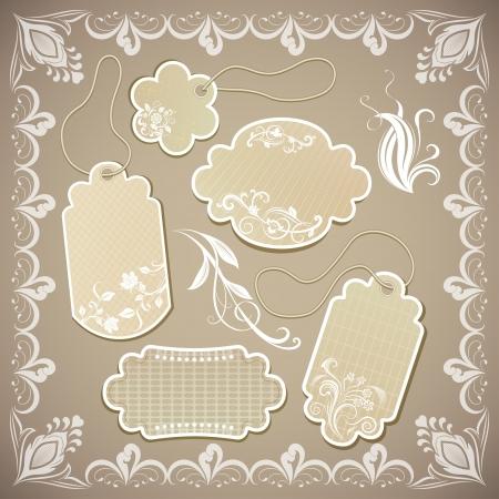 Vintage ornate beige paper labels illustration.
