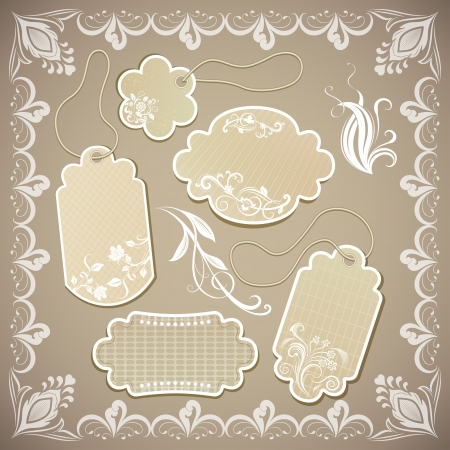 Vintage ornate beige paper labels illustration. Vector