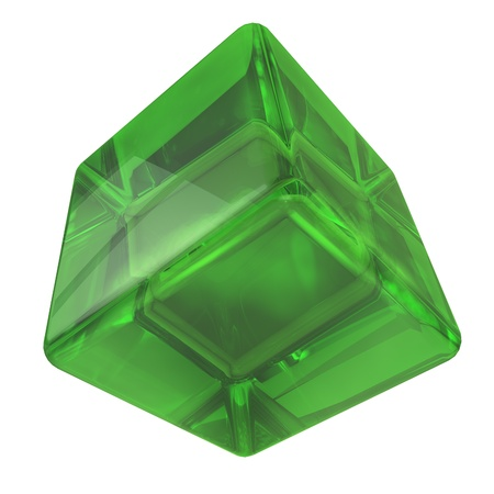 looking through an object: 3D green glass rounded cube isolated on white background.
