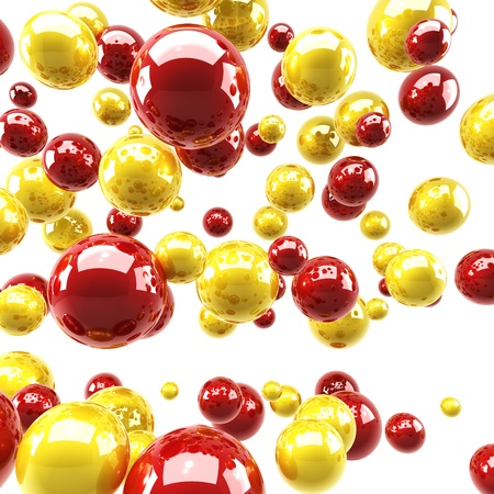 Red and yellow glossy spheres background. photo