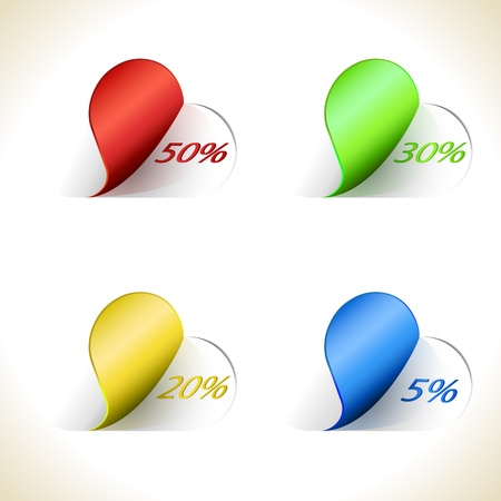 rounded: Rounded sticky sale tags isolated on white background