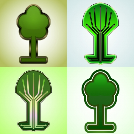 Cyber tree tags set  Vector