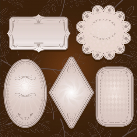 ovalo: Vintage etiquetas de papel adornados Vectores