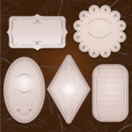 oval frame: Vintage ornate paper labels  Illustration