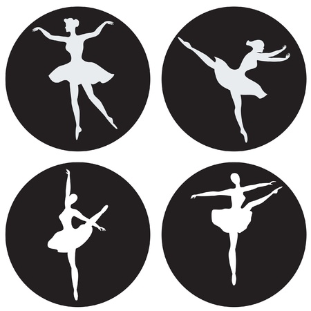 ballerina silhouette: Dancing ballerina silhouettes isolated on black circles