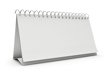 desk calendar: Blank standing desk calendar isolated on white