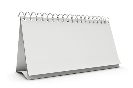 calendario: Calendario en blanco mesa de pie aislado en blanco Foto de archivo