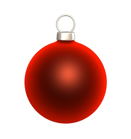 Red blank Christmas bauble isolated on white background  photo