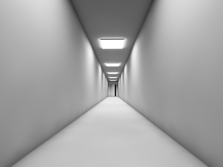 Long white corridor with the door at the end  photo
