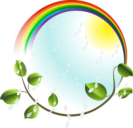 Eco concept  Rainbow with green leaves branch  Stock Photo - 14358191
