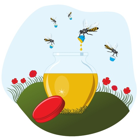Bees carrying honey to the pot illustration  Stock Vector - 14358053