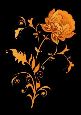 Orange decorative flower on black background illustration Stock Vector - 14357938