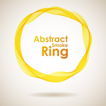Abstract yellow smoke ring design element