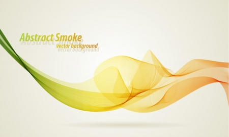 Green and yellow smoky wave vector background with copy space