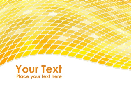 3D golden mosaic wave background  Vector