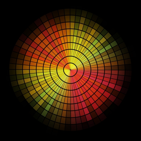 radial: Abstract  radial red and yellow mosaic