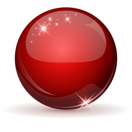 白で隔離される赤い光沢のある球  イラスト・ベクター素材