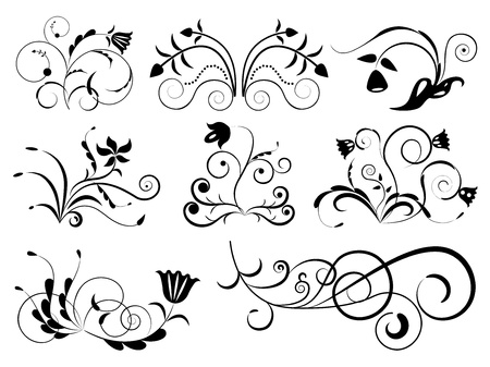 curled: Black and white floral design elements