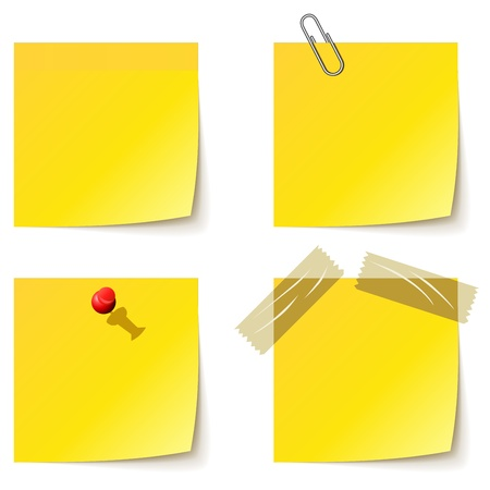 memo pad: Yellow notice papers isolated on white