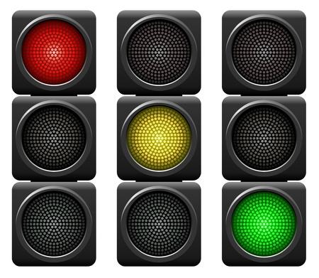 señal de transito: Los semáforos aislados sobre fondo blanco