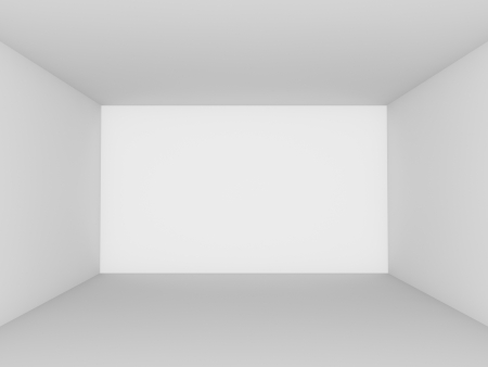 Empty white room perspective view