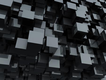 抽象的な背景が黒の光沢のあるキューブ