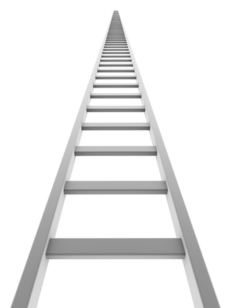 step ladder: White ladder going up isolated on white background