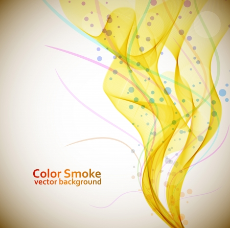Abstract yellow smoke flow vector background