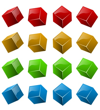 rotations: Color shiny 3D cubes isolated on white background  Illustration