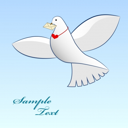 Drawing of dove carrying love message   Vector