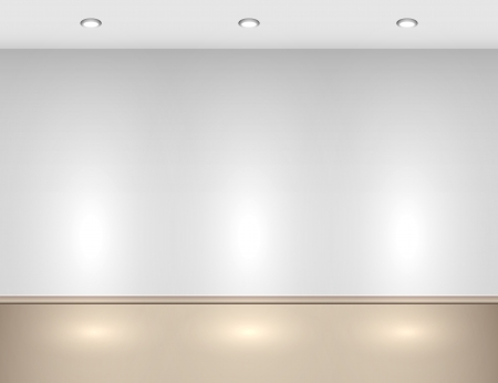 Empty interior with halogen lamps  Illustration