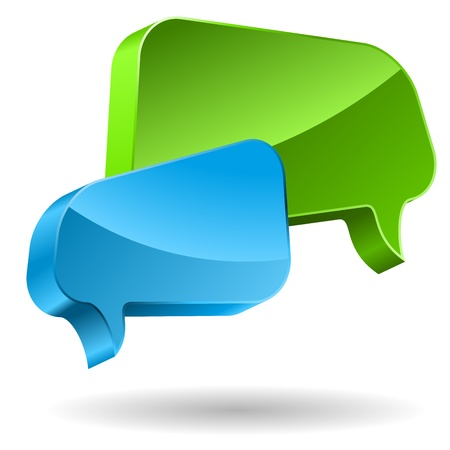 Green and blue speech bubbles 3D icon   Vector