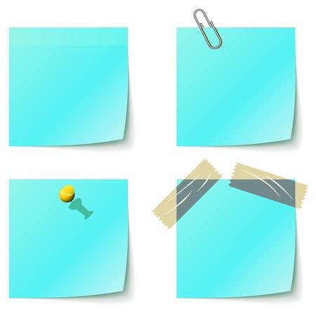 白で隔離青い付箋通知書類