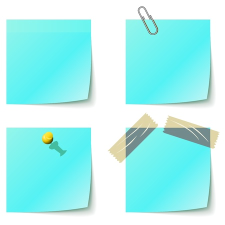 Blue sticky notice papers isolated on white  Stock Vector - 14433036
