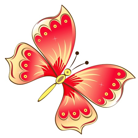 open wings: Red butterfly isolated on white vector illustration