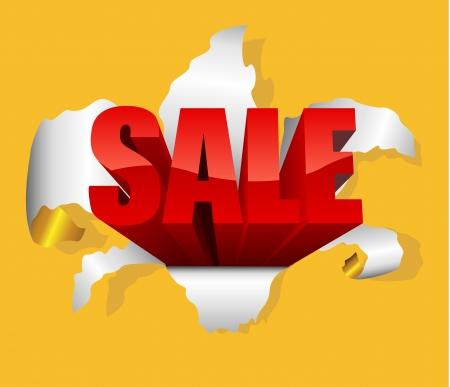break through: Sale design element with letters breaking through paper