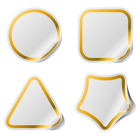 Blank stickers with golden frame  Иллюстрация
