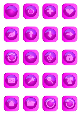 Pink colored glossy web buttons Stock Vector - 14491649
