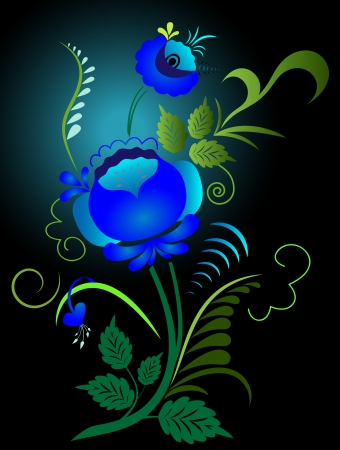 Gzhel styled blue flowers illustration. Vector