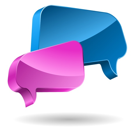 Pink and blue speech bubbles 3D icon.  Vector