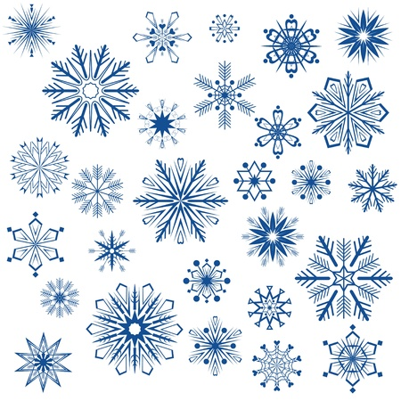 Big set of snowflake shapes isolated on white background. Vector