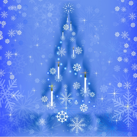 Abstract blue background with Christmas tree shape. Stock Vector - 14491739