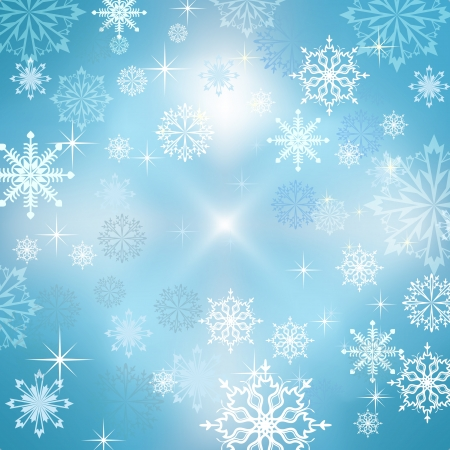 Abstract blue winter vector background with snowflakes Stock Vector - 14491732