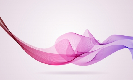 Pink and violet smoky wave background with copy space  Ilustração