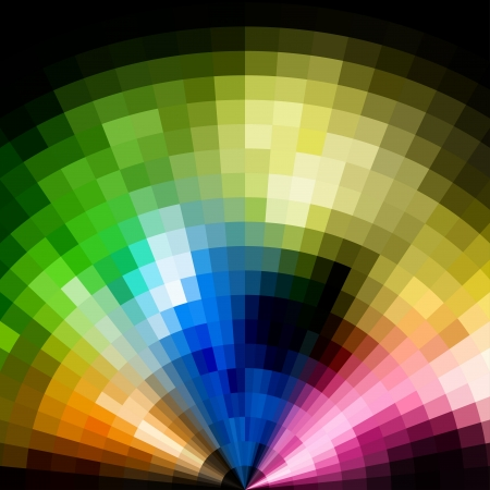 Abstract radial colorful vivid mosaic background  Vector