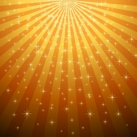 Abstract yellow star burst with star fall background   Vettoriali