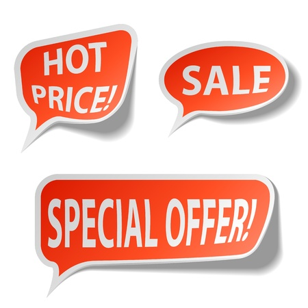 discount coupon: Red sale bubble tags isolated on white