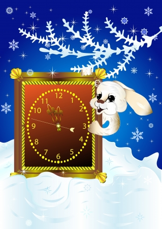 Christmas card with white rabbit looking out of clock around midnight  Vector