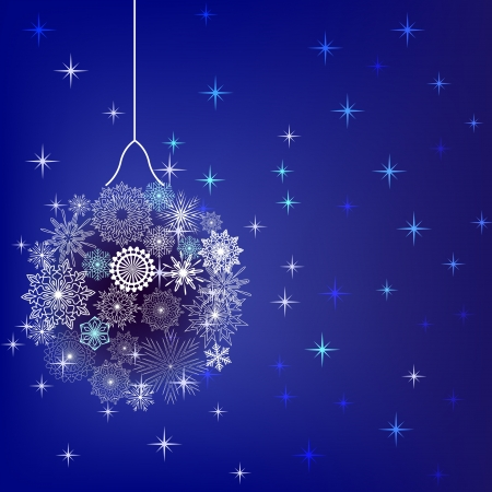 snow crystals: Christmas balls made of snowflakes reddish background  Illustration