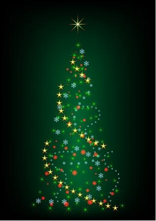 newyear card: Abstract green Christmas tree illustration